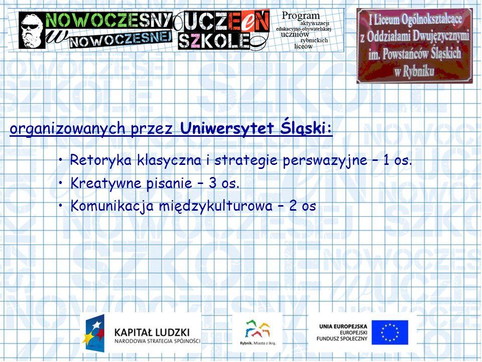 organizowanych przez Uniwersytet Śląski: Retoryka klasyczna i strategie perswazyjne – 1 os. Kreatywne pisanie – 3 os. Komunikacja międzykulturowa – 2