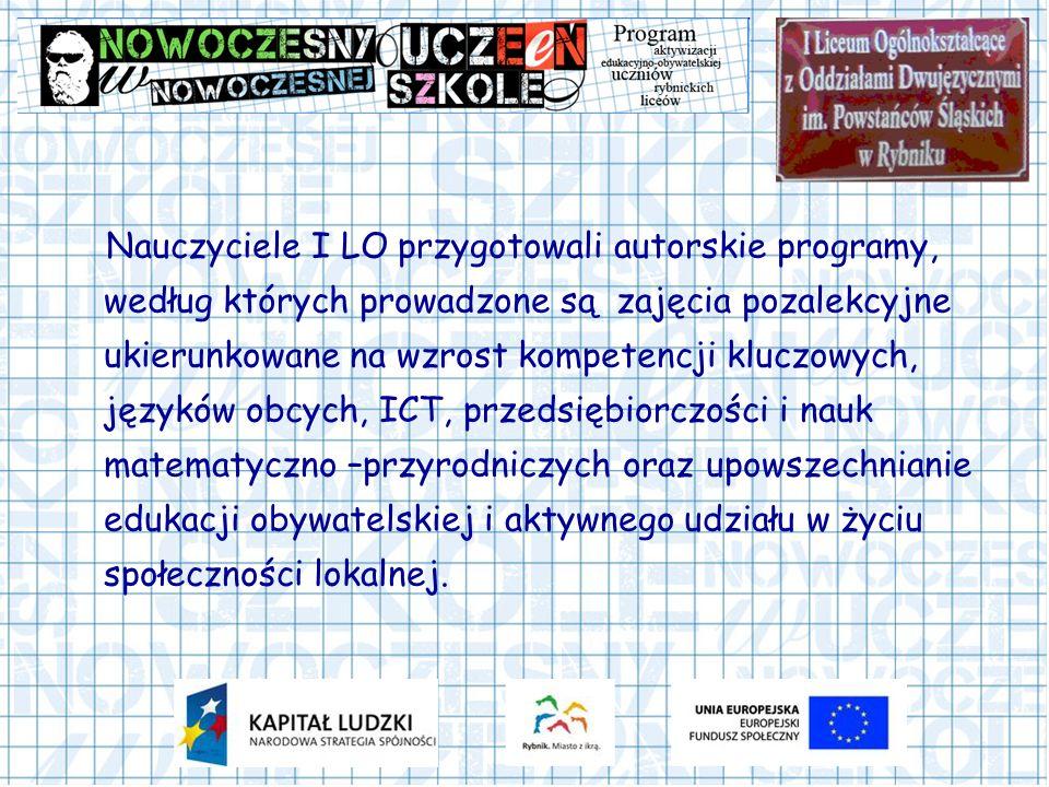 Nauczyciele I LO przygotowali autorskie programy, według których prowadzone są zajęcia pozalekcyjne ukierunkowane na wzrost kompetencji kluczowych, języków obcych, ICT, przedsiębiorczości i nauk matematyczno –przyrodniczych oraz upowszechnianie edukacji obywatelskiej i aktywnego udziału w życiu społeczności lokalnej.