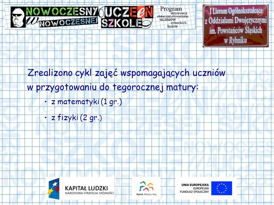 Zrealizono cykl zajęć wspomagających uczniów w przygotowaniu do tegorocznej matury: z matematyki (1 gr.) z fizyki (2 gr. )