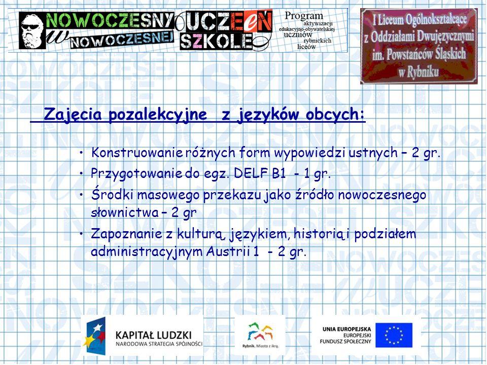 Zajęcia pozalekcyjne z języków obcych: Konstruowanie różnych form wypowiedzi ustnych – 2 gr. Przygotowanie do egz. DELF B1 - 1 gr. Środki masowego prz