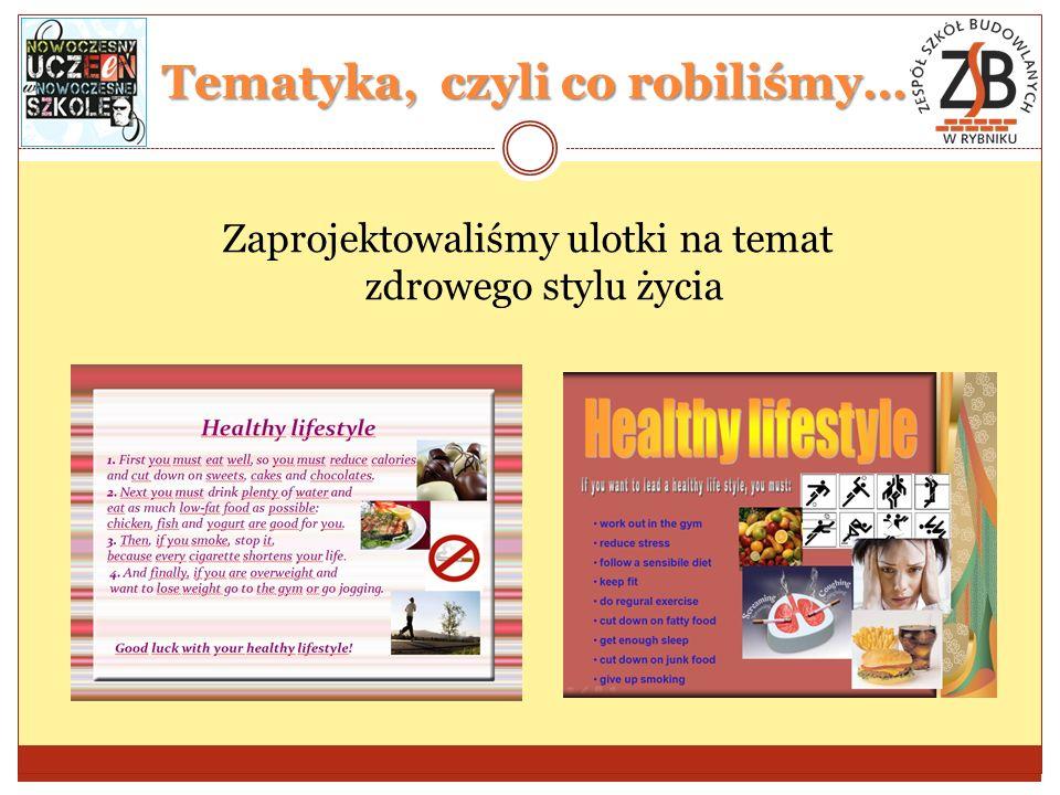 Tematyka, czyli co robiliśmy… Zaprojektowaliśmy ulotki na temat zdrowego stylu życia