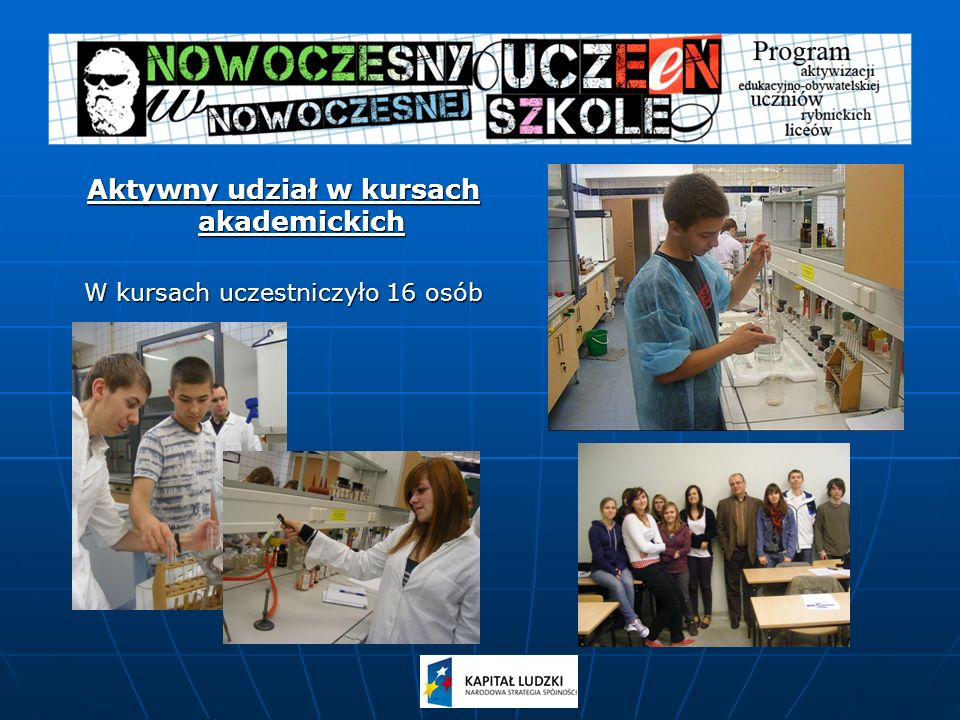 Aktywny udział w kursach akademickich W kursach uczestniczyło 16 osób