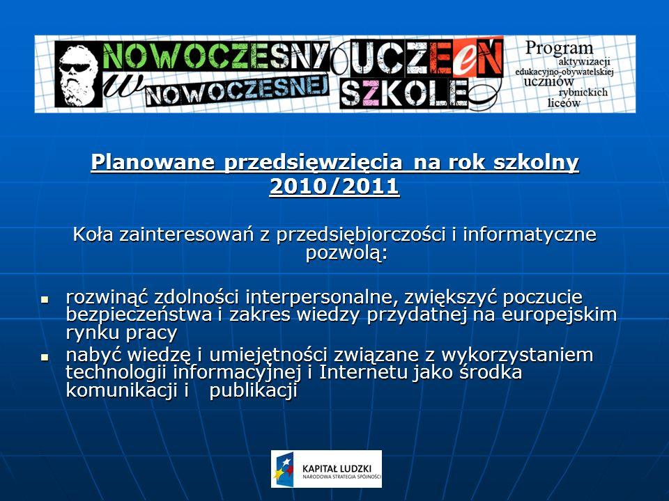 Planowane przedsięwzięcia na rok szkolny 2010/2011 Koła zainteresowań z przedsiębiorczości i informatyczne pozwolą: rozwinąć zdolności interpersonalne, zwiększyć poczucie bezpieczeństwa i zakres wiedzy przydatnej na europejskim rynku pracy rozwinąć zdolności interpersonalne, zwiększyć poczucie bezpieczeństwa i zakres wiedzy przydatnej na europejskim rynku pracy nabyć wiedzę i umiejętności związane z wykorzystaniem technologii informacyjnej i Internetu jako środka komunikacji i publikacji nabyć wiedzę i umiejętności związane z wykorzystaniem technologii informacyjnej i Internetu jako środka komunikacji i publikacji