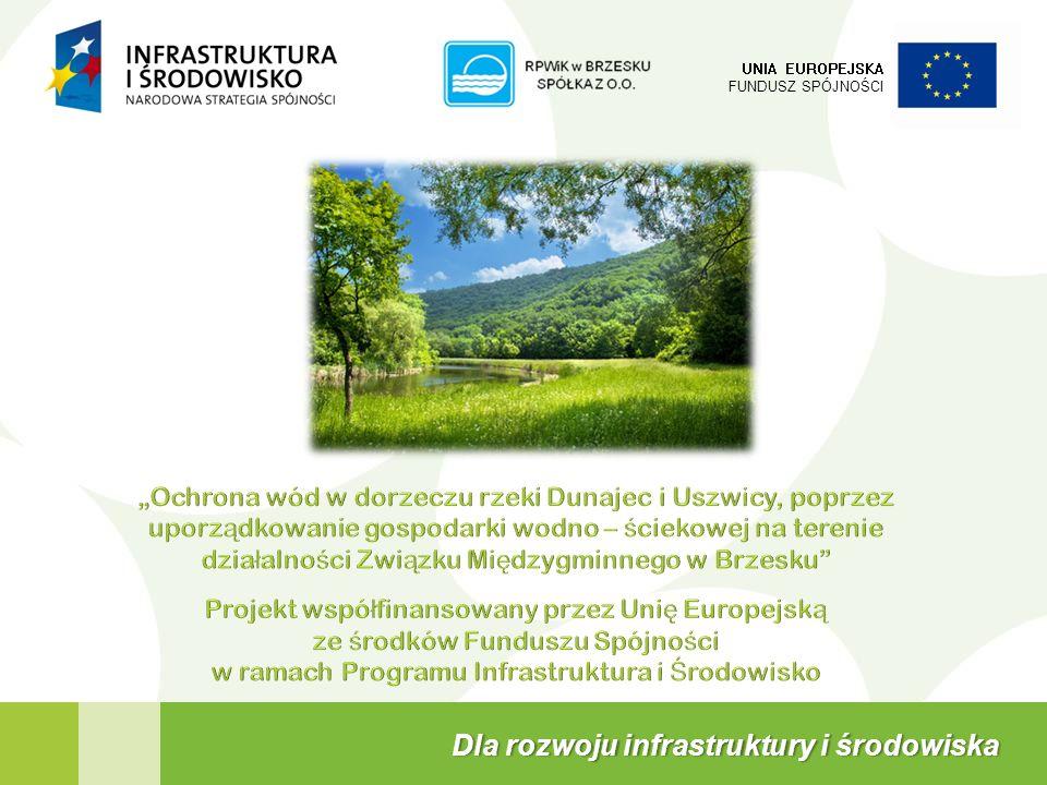 W skład Projektu wchodzą następujące zadania: 2 UNIA EUROPEJSKA FUNDUSZ SPÓJNOŚCI Projekt Ochrona wód w dorzeczu rzeki Dunajec i Uszwicy, poprzez uporządkowanie gospodarki wodno – ściekowej na terenie działalności Związku Międzygminnego w Brzesku Budowa kanalizacji sanitarnej dla os.