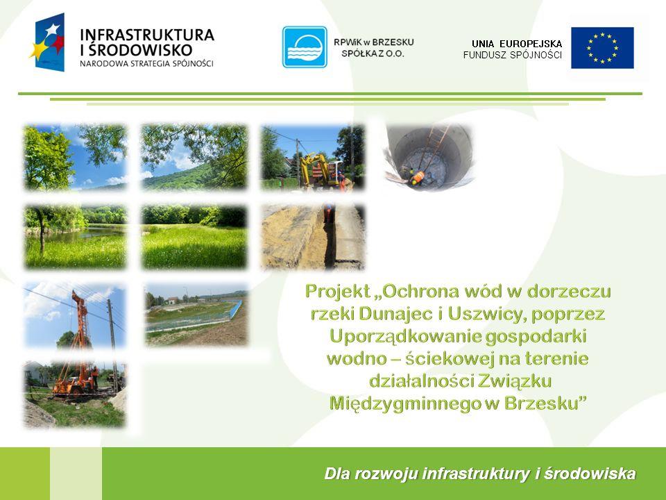 W skład Projektu wchodzą następujące zadania inwestycyjne (roboty budowlane) 2 UNIA EUROPEJSKA FUNDUSZ SPÓJNOŚCI Projekt Ochrona wód w dorzeczu rzeki Dunajec i Uszwicy, poprzez uporządkowanie gospodarki wodno – ściekowej na terenie działalności Związku Międzygminnego w Brzesku Budowa kanalizacji sanitarnej dla os.
