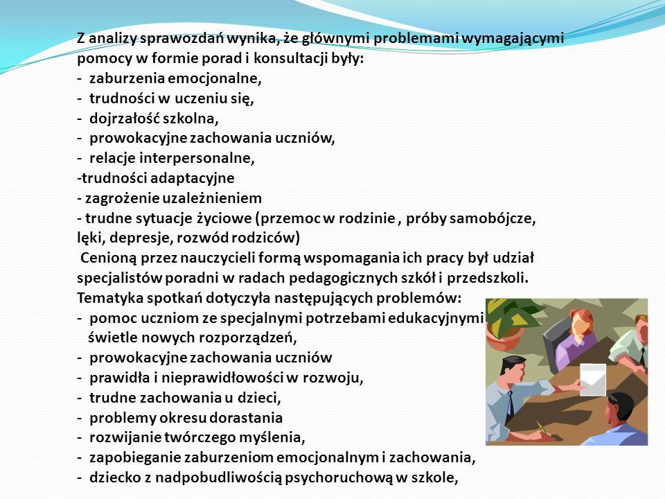 Z analizy sprawozdań wynika, że głównymi problemami wymagającymi pomocy w formie porad i konsultacji były: - zaburzenia emocjonalne, - trudności w ucz