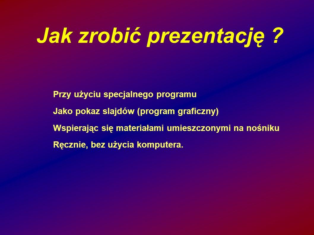 Jak zrobić prezentację ? Przy użyciu specjalnego programu Jako pokaz slajdów (program graficzny) Wspierając się materiałami umieszczonymi na nośniku R