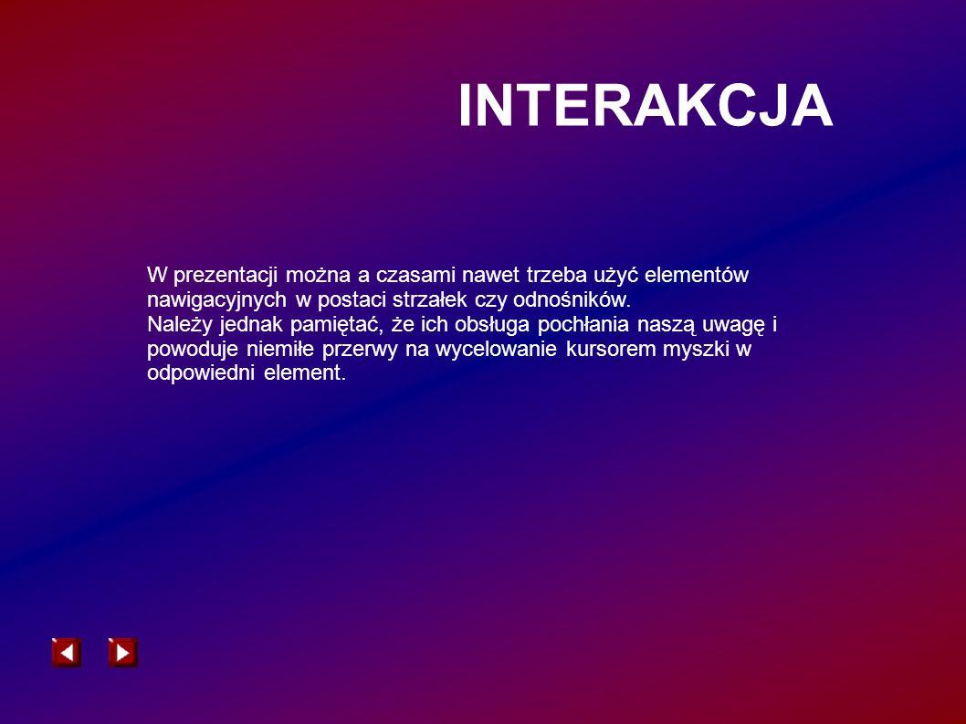INTERAKCJA W prezentacji można a czasami nawet trzeba użyć elementów nawigacyjnych w postaci strzałek czy odnośników. Należy jednak pamiętać, że ich o