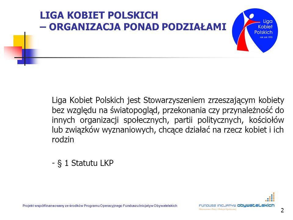2 LIGA KOBIET POLSKICH – ORGANIZACJA PONAD PODZIAŁAMI Liga Kobiet Polskich jest Stowarzyszeniem zrzeszającym kobiety bez względu na światopogląd, prze