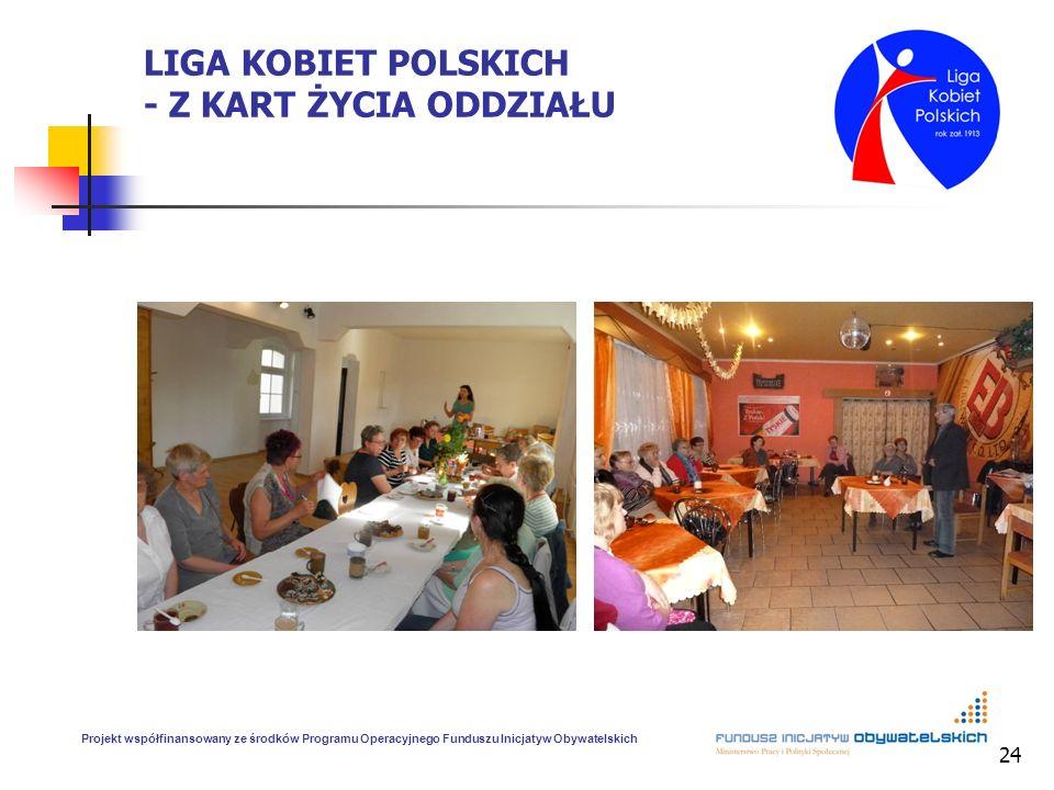 24 LIGA KOBIET POLSKICH - Z KART ŻYCIA ODDZIAŁU Projekt współfinansowany ze środków Programu Operacyjnego Funduszu Inicjatyw Obywatelskich