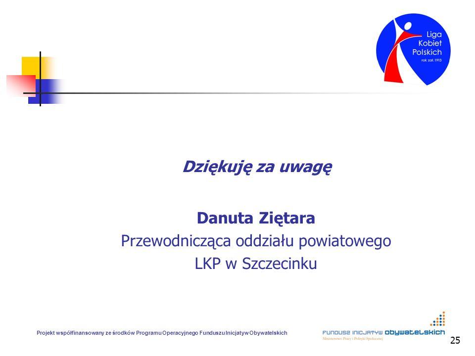 25 Dziękuję za uwagę Danuta Ziętara Przewodnicząca oddziału powiatowego LKP w Szczecinku Projekt współfinansowany ze środków Programu Operacyjnego Fun