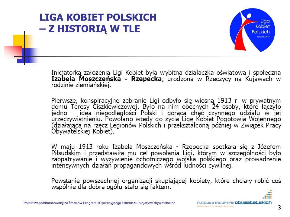 3 LIGA KOBIET POLSKICH – Z HISTORIĄ W TLE Inicjatorką założenia Ligi Kobiet była wybitna działaczka oświatowa i społeczna Izabela Moszczeńska - Rzepec