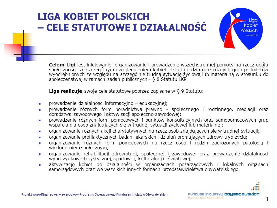 4 LIGA KOBIET POLSKICH – CELE STATUTOWE I DZIAŁALNOŚĆ Celem Ligi jest inicjowanie, organizowanie i prowadzenie wszechstronnej pomocy na rzecz ogółu sp