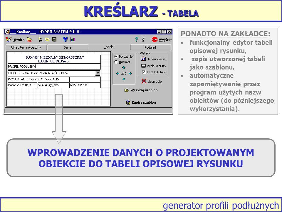 generator profili podłużnych KREŚLARZ - TABELA PONADTO NA ZAKŁADCE: funkcjonalny edytor tabeli opisowej rysunku, zapis utworzonej tabeli jako szablonu, automatyczne zapamiętywanie przez program użytych nazw obiektów (do późniejszego wykorzystania).