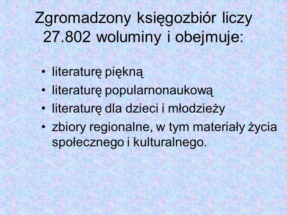 Zgromadzony księgozbiór liczy 27.802 woluminy i obejmuje: literaturę piękną literaturę popularnonaukową literaturę dla dzieci i młodzieży zbiory regionalne, w tym materiały życia społecznego i kulturalnego.
