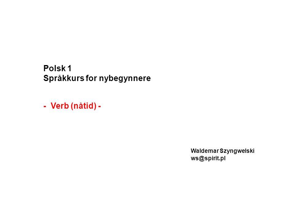 Polsk 1 Språkkurs for nybegynnere - Verb (nåtid) - Waldemar Szyngwelski ws@spirit.pl