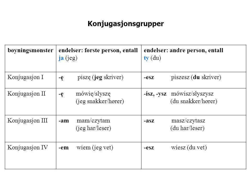 Konjugasjonsgrupper bøyningsmønsterendelser: første person, entall ja (jeg) endelser: andre person, entall ty (du) Konjugasjon I-ę piszę (jeg skriver)