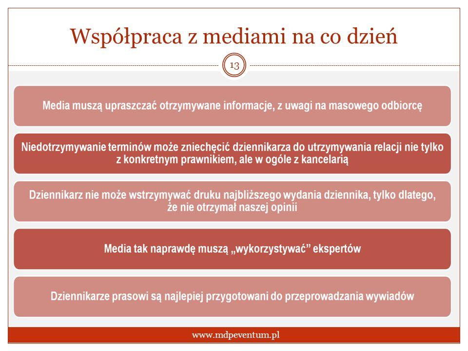 Współpraca z mediami na co dzień 13 www.mdpeventum.pl
