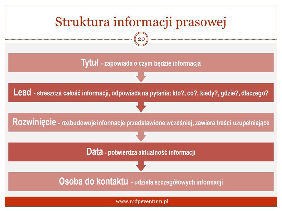 Struktura informacji prasowej 20 www.mdpeventum.pl