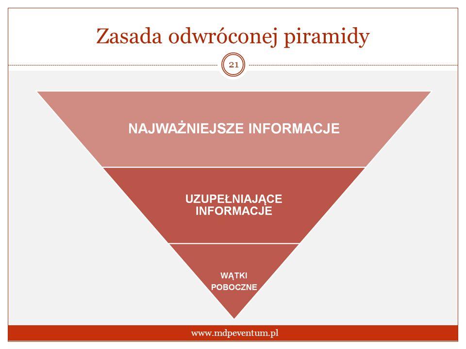 Zasada odwróconej piramidy 21 www.mdpeventum.pl