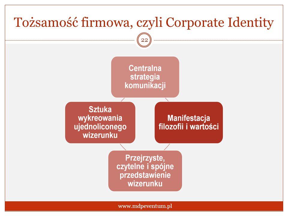 Tożsamość firmowa, czyli Corporate Identity 22 www.mdpeventum.pl