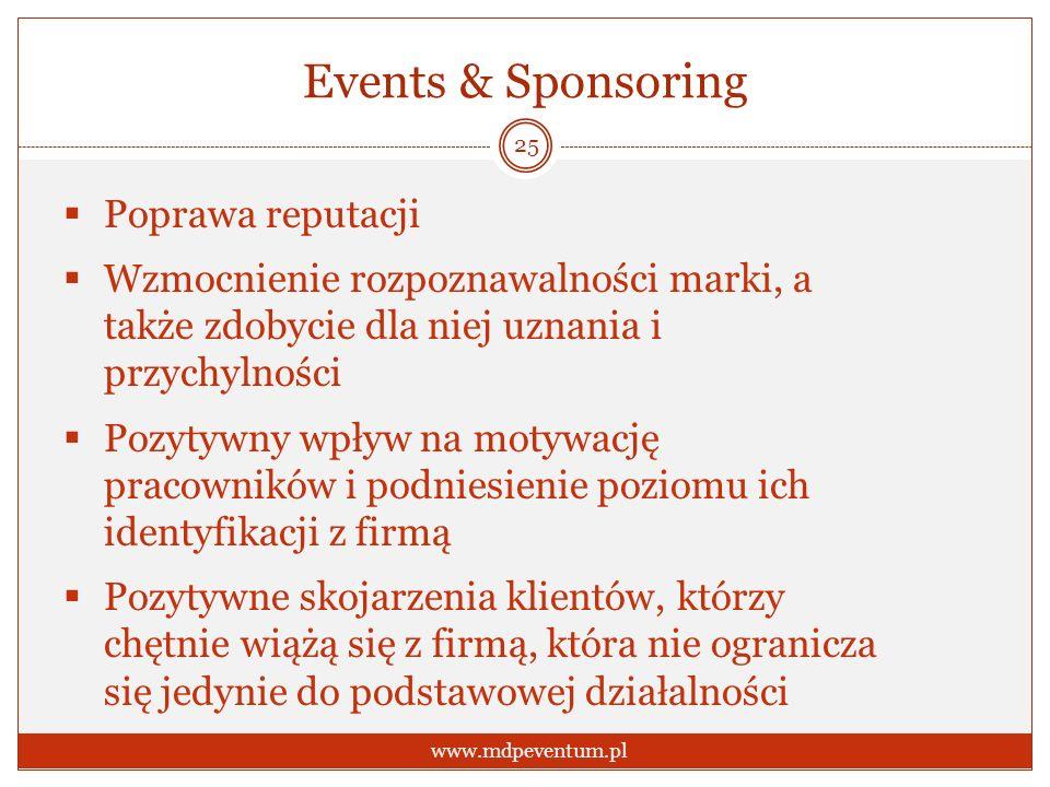 Events & Sponsoring Poprawa reputacji Wzmocnienie rozpoznawalności marki, a także zdobycie dla niej uznania i przychylności Pozytywny wpływ na motywację pracowników i podniesienie poziomu ich identyfikacji z firmą Pozytywne skojarzenia klientów, którzy chętnie wiążą się z firmą, która nie ogranicza się jedynie do podstawowej działalności 25 www.mdpeventum.pl