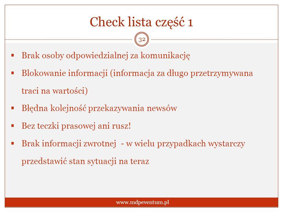 Check lista część 1 Brak osoby odpowiedzialnej za komunikację Blokowanie informacji (informacja za długo przetrzymywana traci na wartości) Błędna kolejność przekazywania newsów Bez teczki prasowej ani rusz.