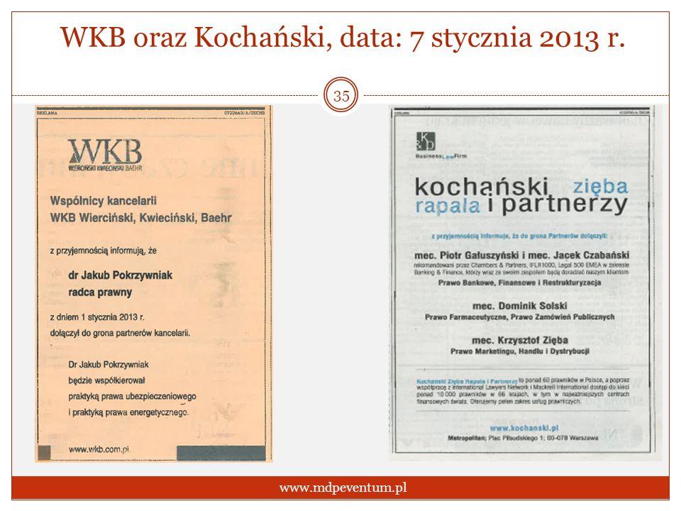 WKB oraz Kochański, data: 7 stycznia 2013 r. 35 www.mdpeventum.pl