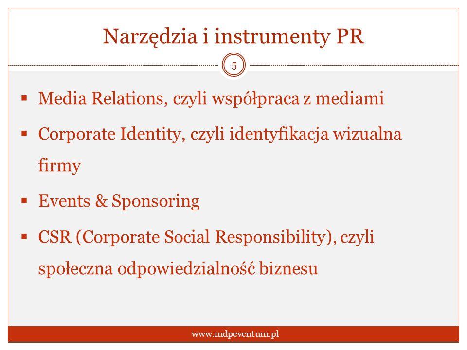Narzędzia i instrumenty PR Media Relations, czyli współpraca z mediami Corporate Identity, czyli identyfikacja wizualna firmy Events & Sponsoring CSR (Corporate Social Responsibility), czyli społeczna odpowiedzialność biznesu 5 www.mdpeventum.pl