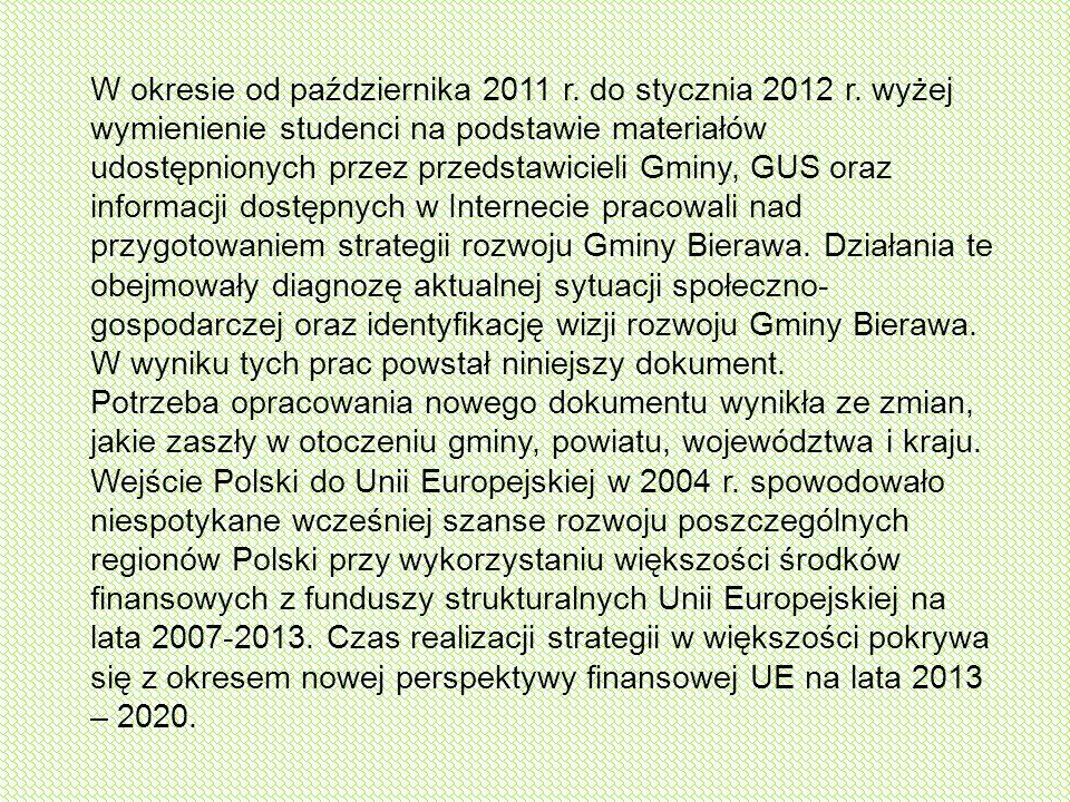 W okresie od października 2011 r. do stycznia 2012 r. wyżej wymienienie studenci na podstawie materiałów udostępnionych przez przedstawicieli Gminy, G