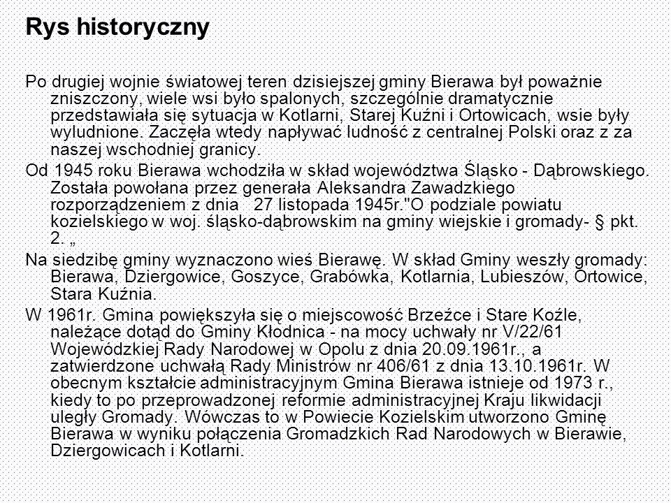 Rys historyczny Po drugiej wojnie światowej teren dzisiejszej gminy Bierawa był poważnie zniszczony, wiele wsi było spalonych, szczególnie dramatyczni