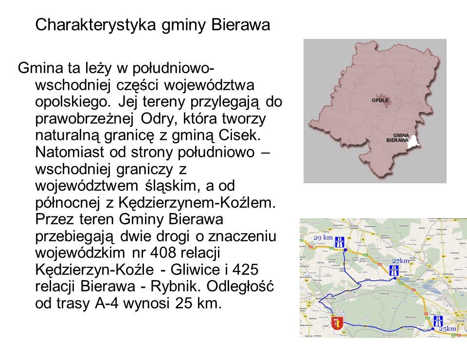 Charakterystyka gminy Bierawa Gmina ta leży w południowo- wschodniej części województwa opolskiego. Jej tereny przylegają do prawobrzeżnej Odry, która