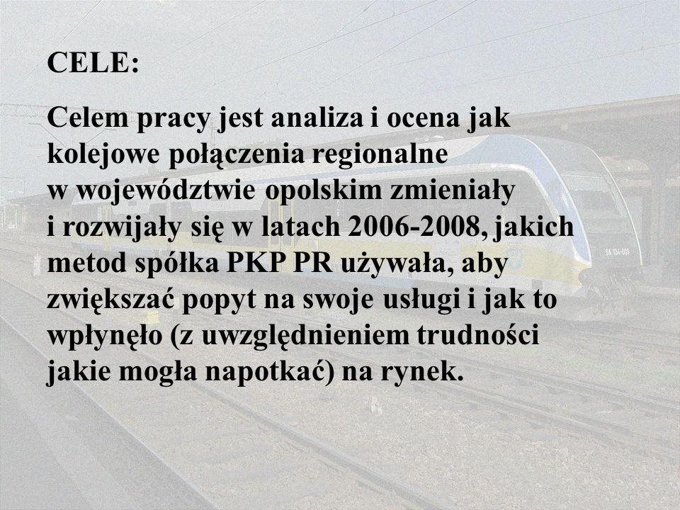 CELE: Celem pracy jest analiza i ocena jak kolejowe połączenia regionalne w województwie opolskim zmieniały i rozwijały się w latach 2006-2008, jakich