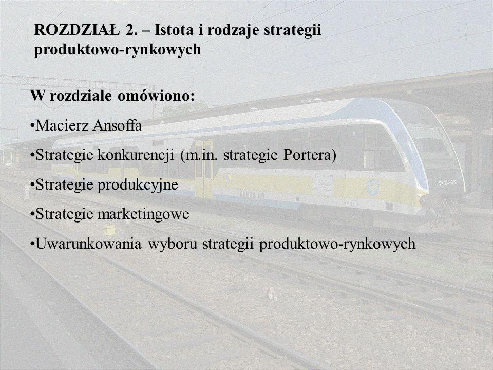 ROZDZIAŁ 2. – Istota i rodzaje strategii produktowo-rynkowych W rozdziale omówiono: Macierz Ansoffa Strategie konkurencji (m.in. strategie Portera) St