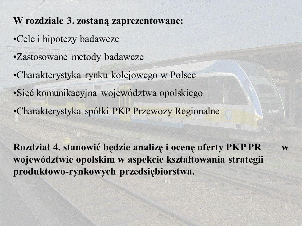 W rozdziale 3. zostaną zaprezentowane: Cele i hipotezy badawcze Zastosowane metody badawcze Charakterystyka rynku kolejowego w Polsce Sieć komunikacyj