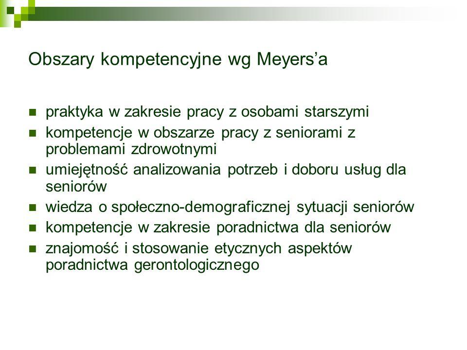 Obszary kompetencyjne wg Meyersa praktyka w zakresie pracy z osobami starszymi kompetencje w obszarze pracy z seniorami z problemami zdrowotnymi umiej