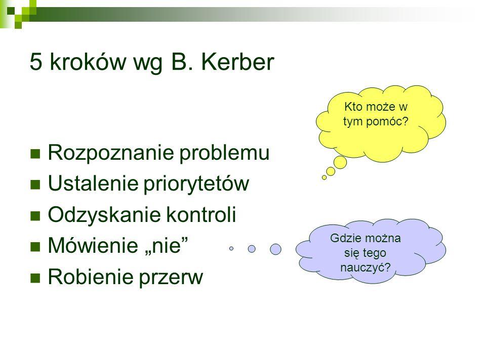 5 kroków wg B. Kerber Rozpoznanie problemu Ustalenie priorytetów Odzyskanie kontroli Mówienie nie Robienie przerw Kto może w tym pomóc? Gdzie można si