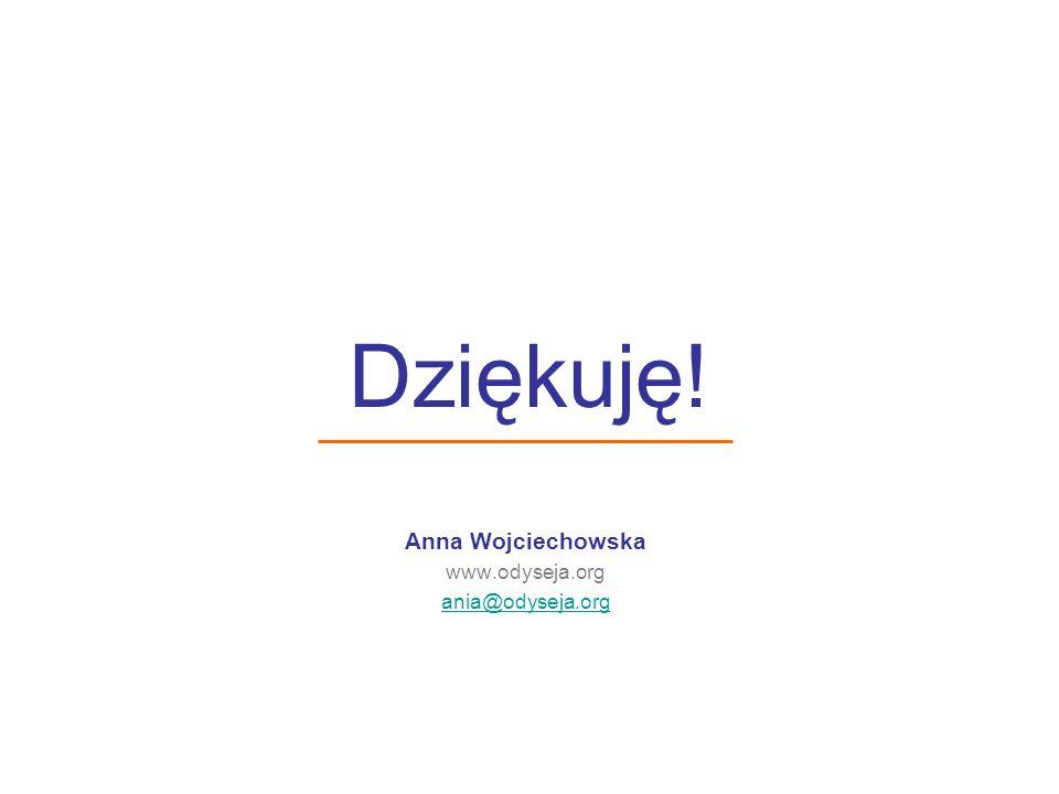 Dziękuję! Anna Wojciechowska www.odyseja.org ania@odyseja.org