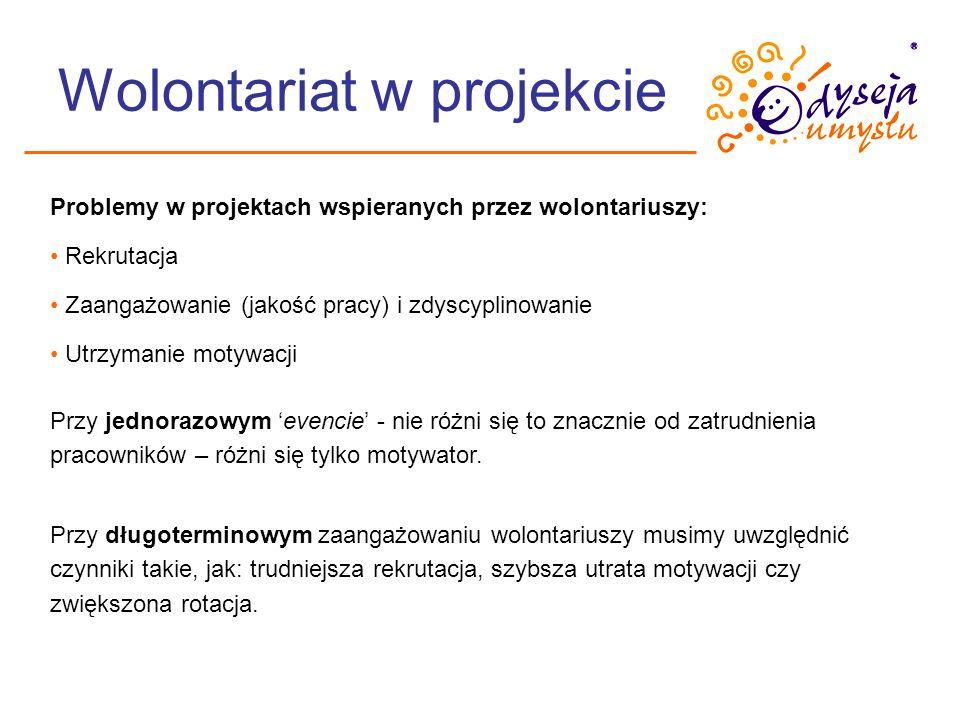 Wolontariat w projekcie Problemy w projektach wspieranych przez wolontariuszy: Rekrutacja Zaangażowanie (jakość pracy) i zdyscyplinowanie Utrzymanie m