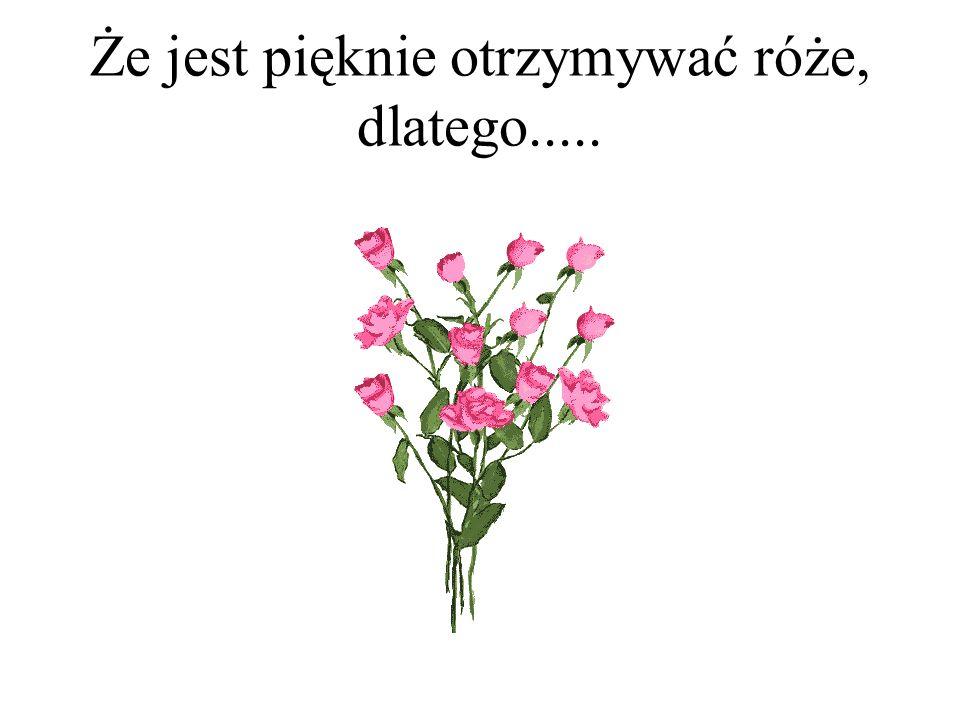 Że jest pięknie otrzymywać róże, dlatego.....