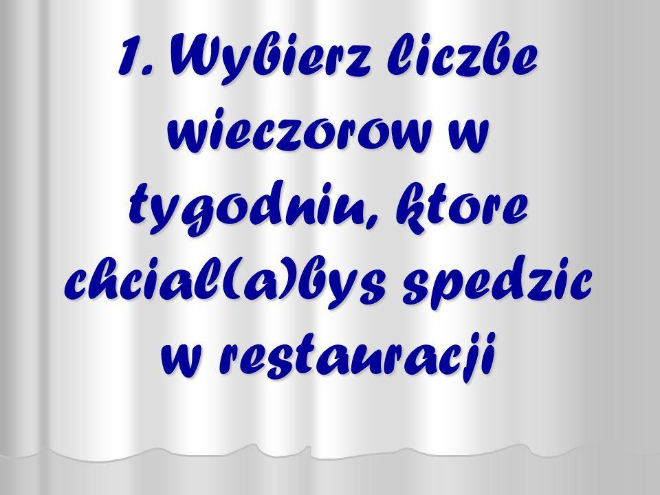 1. Wybierz liczbe wieczorow w tygodniu, ktore chcial(a)bys spedzic w restauracji