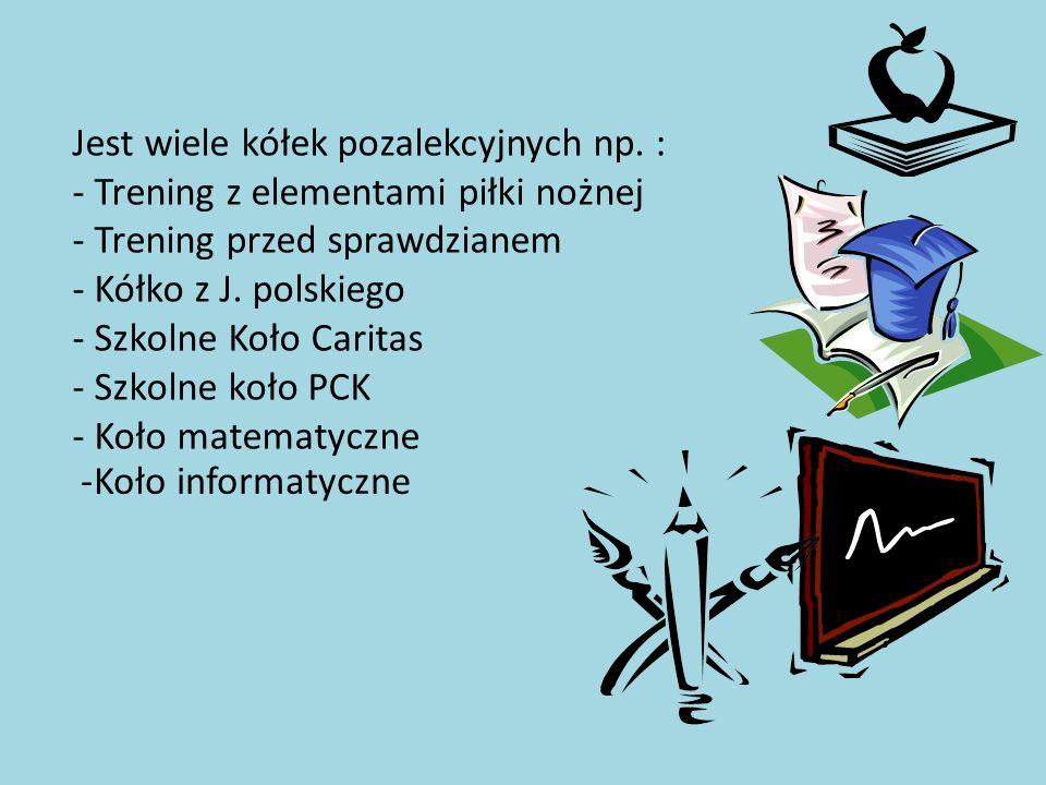 Jest wiele kółek pozalekcyjnych np. : - Trening z elementami piłki nożnej - Trening przed sprawdzianem - Kółko z J. polskiego - Szkolne Koło Caritas -