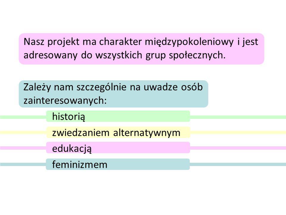Poprzez nasz projekt chcemy: podkreślić rolę kobiet w kształtowaniu historii prowadzić nieformalną edukację zachęcać do działań międzypokoleniowych zwiększyć zainteresowania historią codzienności zachować i popularyzować pamięć Stoczni Gdańskiej
