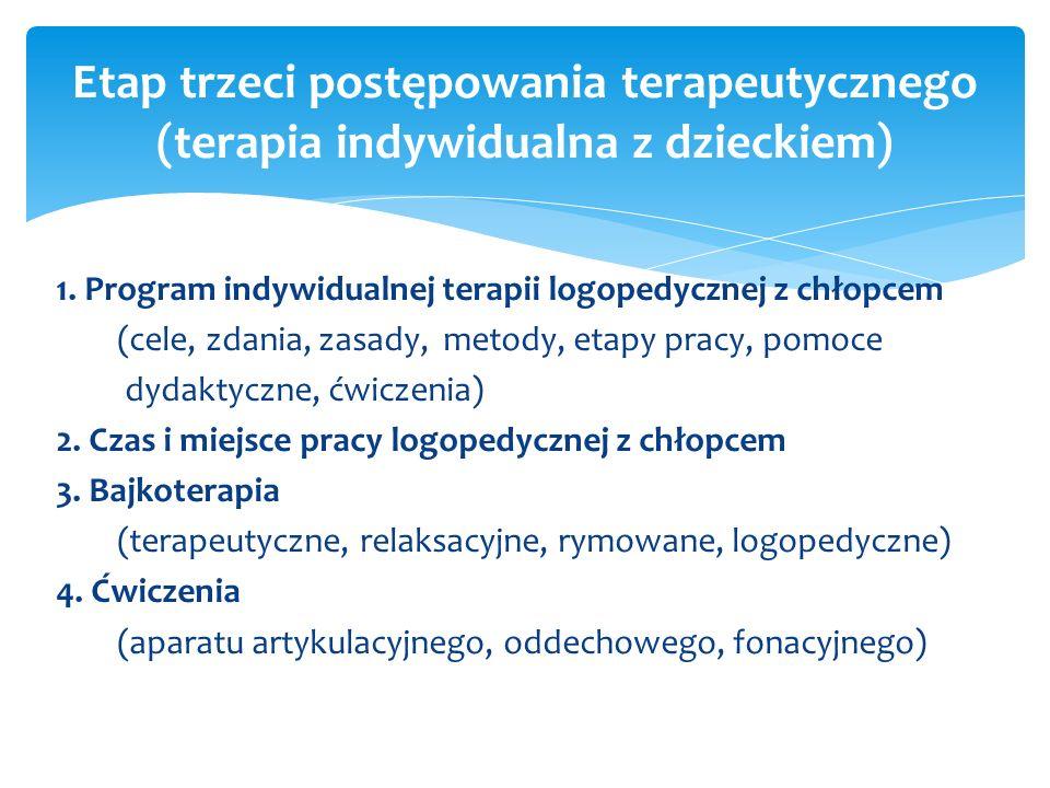 1. Program indywidualnej terapii logopedycznej z chłopcem (cele, zdania, zasady, metody, etapy pracy, pomoce dydaktyczne, ćwiczenia) 2. Czas i miejsce