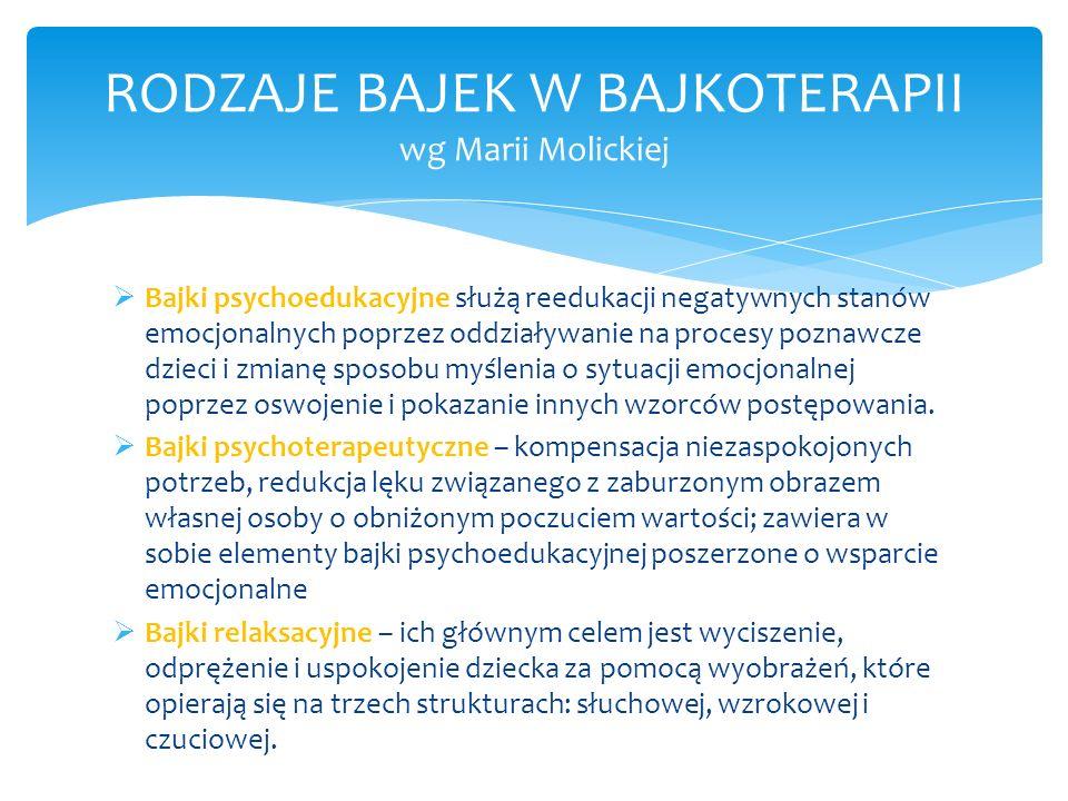 Bajki rymowane (Agnieszka Łaba) -rozbudzanie możliwości intelektualnych i wyobraźni twórczej -wyrobienie umiejętności słuchania i rozwoju mowy -zdobywanie doświadczeń językowych dzięki zastosowaniu rymu Bajki rozwijające sprawność językową (Małgorzata Młynarska) -wykorzystanie metody psychostymulacyjnej kształtującej i rozwijającej mowę i myślenie -rozwijanie wszystkich aspektów języka poprzez ćwiczenia językowe -wdrażanie do nauki opowiadania bajek Bajki logopedyczne (Anna Tońska – Mrowiec) -rozwijanie aparatu artykulacyjnego, oddechowego i słuchowego -rozwijanie mowy opowieściowej i wiązanej -kształtowanie myślenia przyczynowo – skutkowego, spostrzegawczości, pamięci słuchowej RODZAJE BAJEK W BAJKOTERAPII