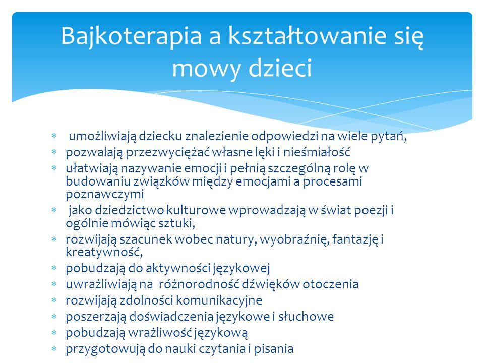Bajkoterapia a medycyna Bajkoterapia a psychologia Bajkoterapia a pedagogika Bajkoterapia a językoznawstwo Bajkoterapia a logopedia Wykorzystanie bajkoterapii