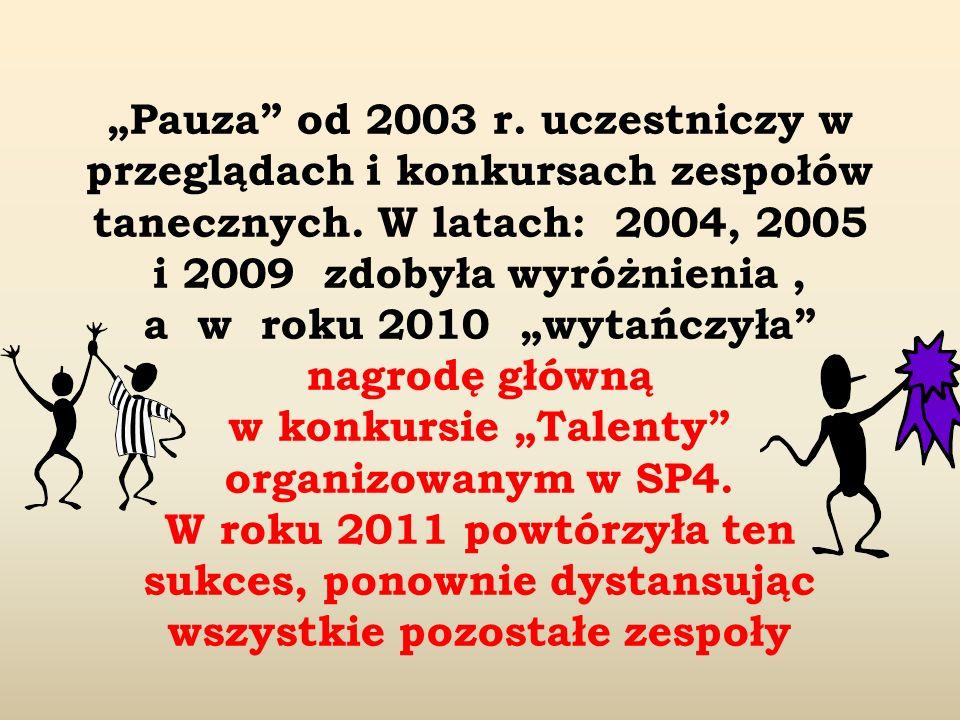 Pauza od 2003 r. uczestniczy w przeglądach i konkursach zespołów tanecznych. W latach: 2004, 2005 i 2009 zdobyła wyróżnienia, a w roku 2010 wytańczyła