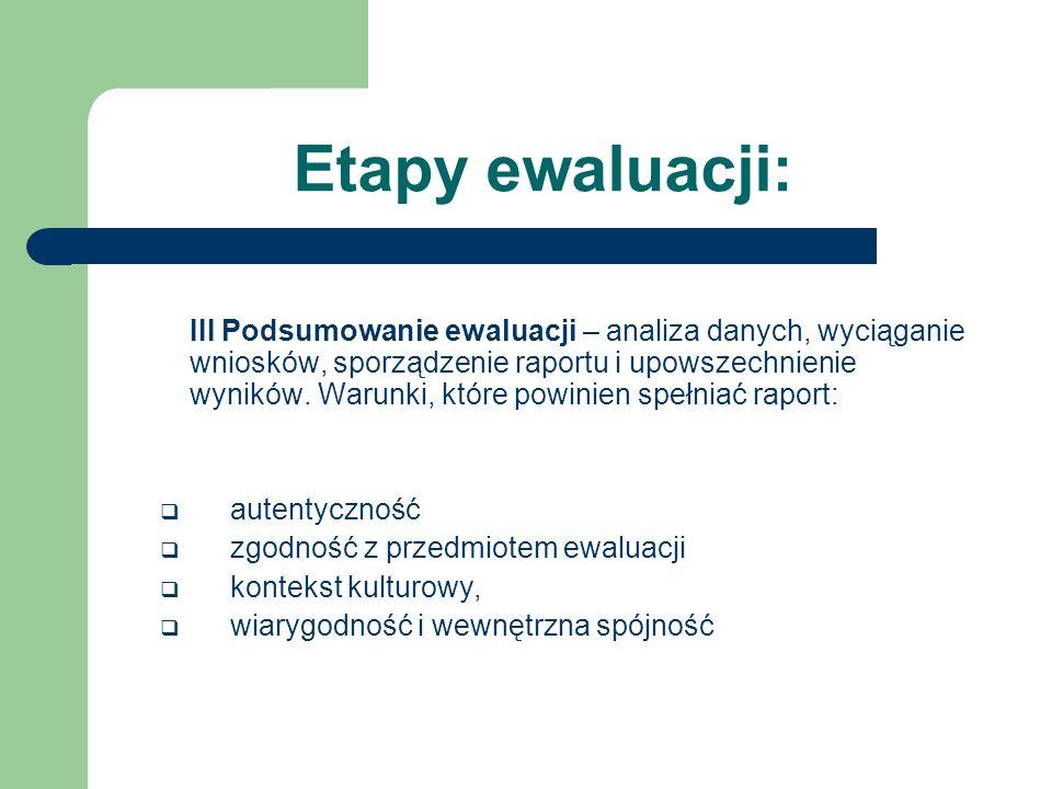 Etapy ewaluacji: III Podsumowanie ewaluacji – analiza danych, wyciąganie wniosków, sporządzenie raportu i upowszechnienie wyników.Warunki, które powin