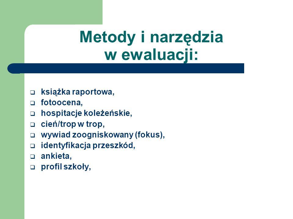 Metody i narzędzia w ewaluacji: książka raportowa, fotoocena, hospitacje koleżeńskie, cień/trop w trop, wywiad zoogniskowany (fokus), identyfikacja pr