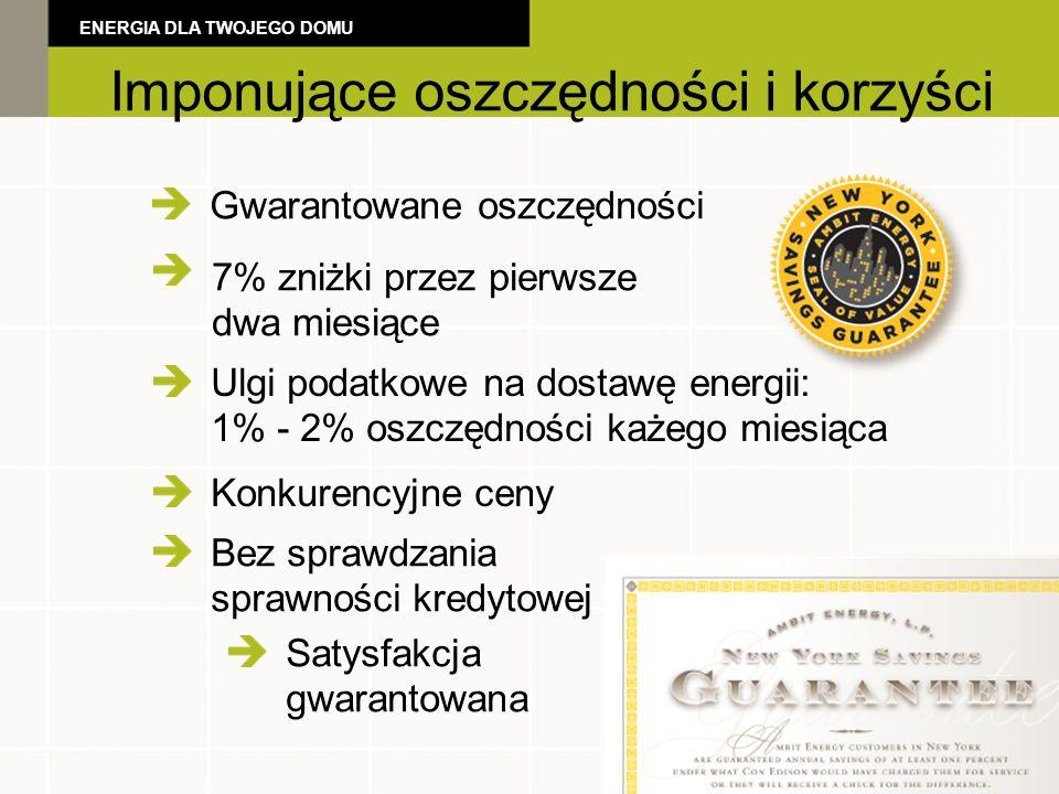 Gwarantowane oszczędności Ulgi podatkowe na dostawę energii: 1% - 2% oszczędności każego miesiąca Konkurencyjne ceny Bez sprawdzania sprawności kredytowej 7% zniżki przez pierwsze dwa miesiące Satysfakcja gwarantowana ENERGIA DLA TWOJEGO DOMU Imponujące oszczędności i korzyści